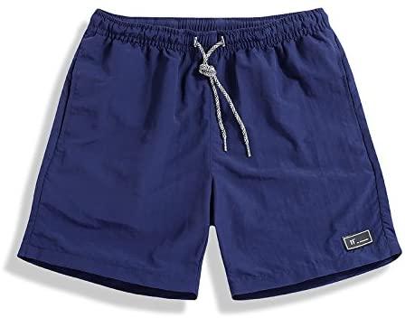 Men's Classic Fit Casual Fleece Jogger Gym Workout Short Pants with Elastic Waist (XXXL, Navy)