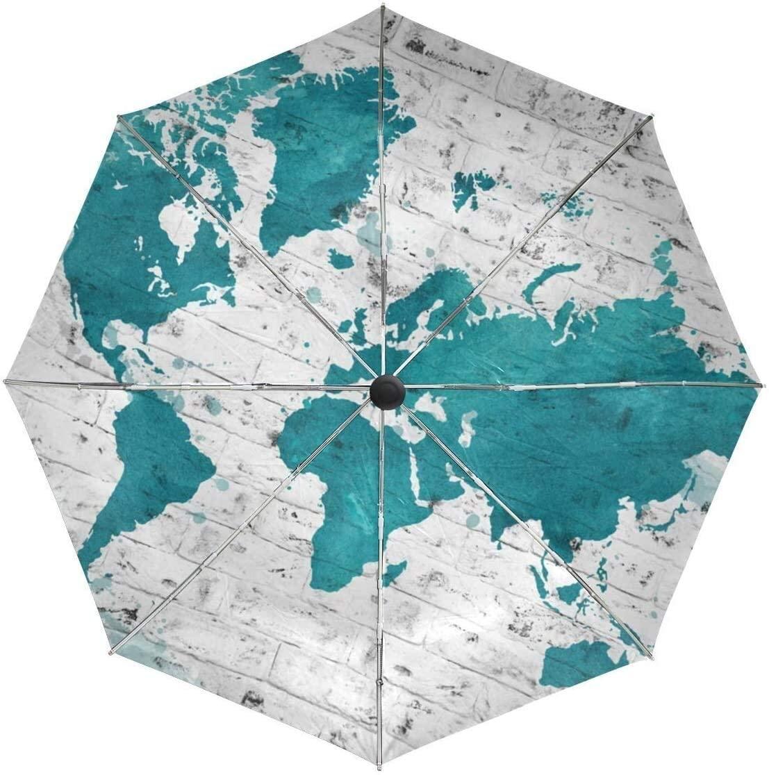 ASDF Automatic Umbrellas Watercolor Retro World Map Anti-Slip Windproof Compact Rain Umbrella for Women Men