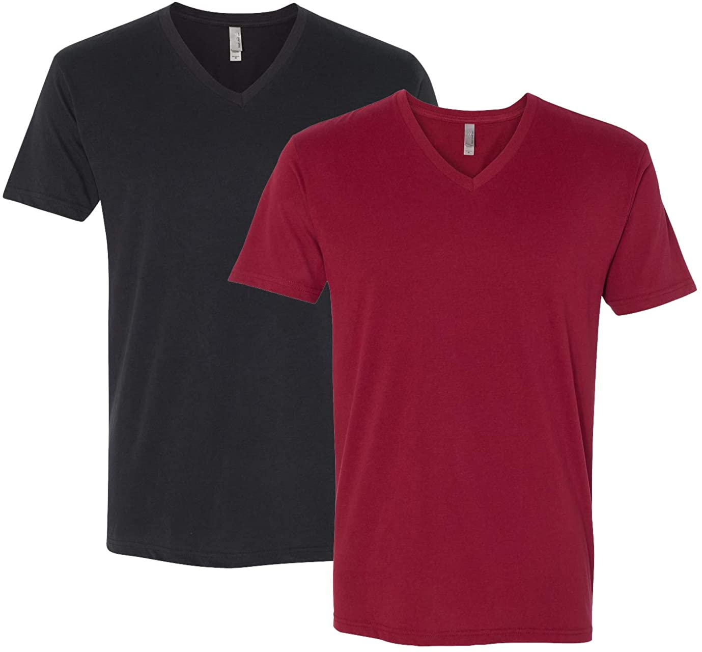 Next Level Apparel 6440 Mens Premium Fitted Suided V-Neck, Black + Cardinal (2 Shirts)-X-Large