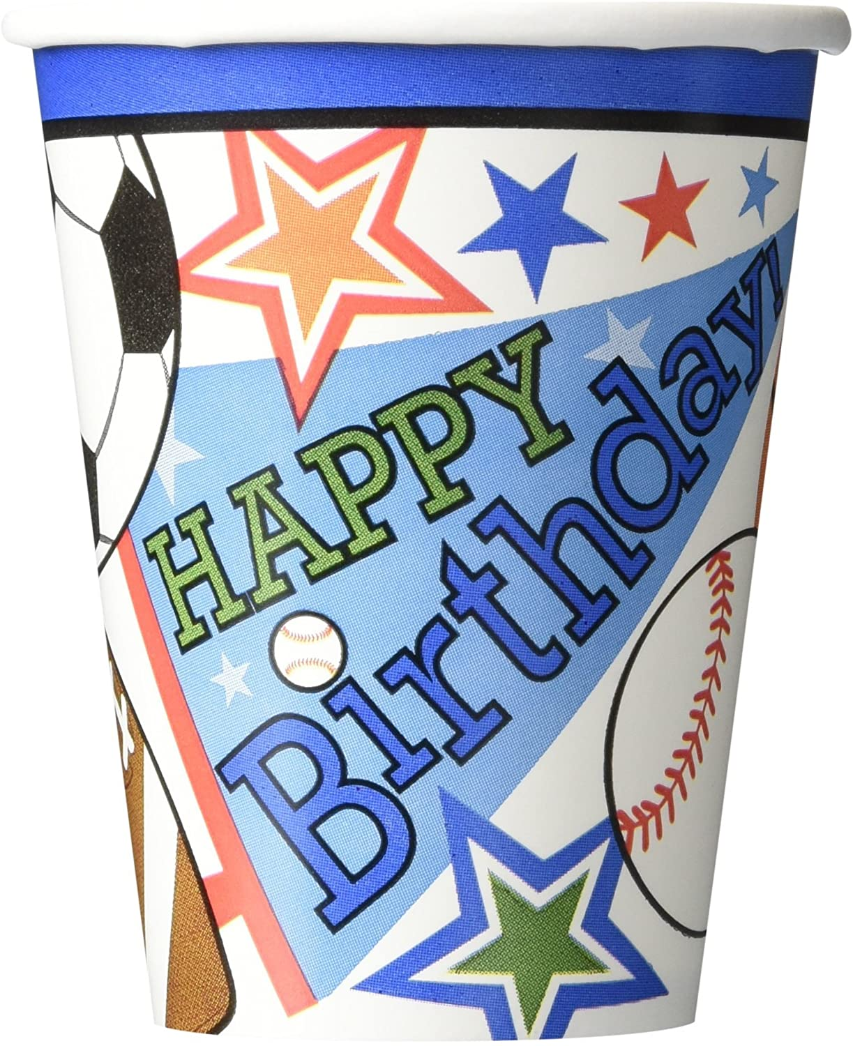 Sports Superstar Birthday Party Paper Cups , Pack of 8, Multi , 9 Ounces, Paper