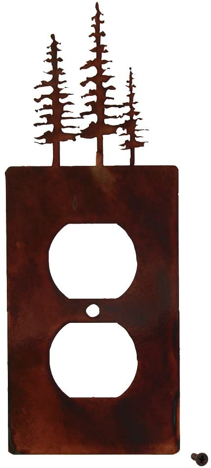 Decorative Rustic Finish Steel Outlet Cover - Pines