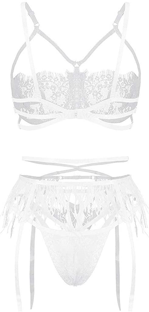 Women's Sexy Exquisite Lace Lingerie Bra+Garter+Briefs Babydoll Cut-Out Sleepwear Underpants Pajama Nightwear WEI MOLO