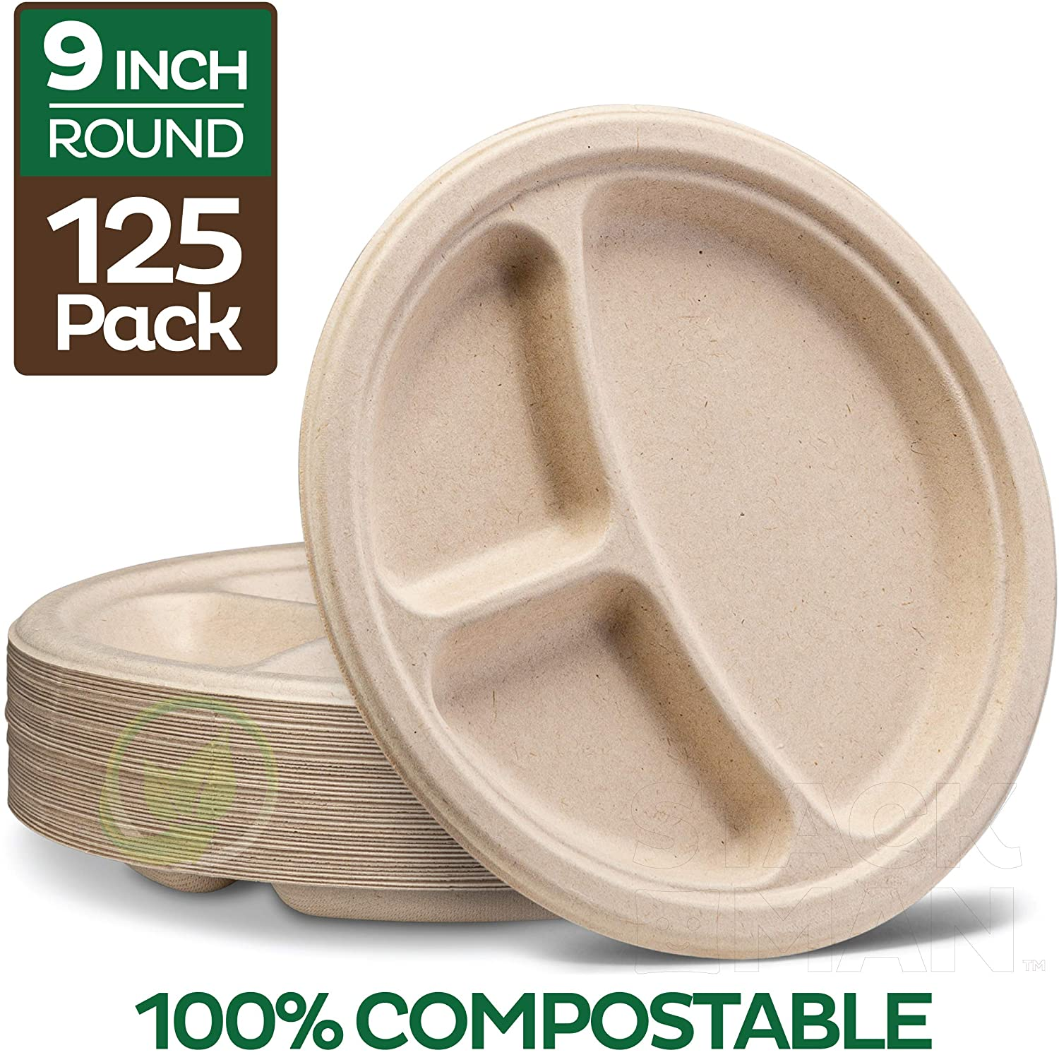 100% Compostable Paper Plates [9 inch - 125-Pack] 3 Compartment Disposable Plates Heavy-Duty Quality, Natural Bagasse Eco-Friendly Made of Sugar Cane Fibers, 9