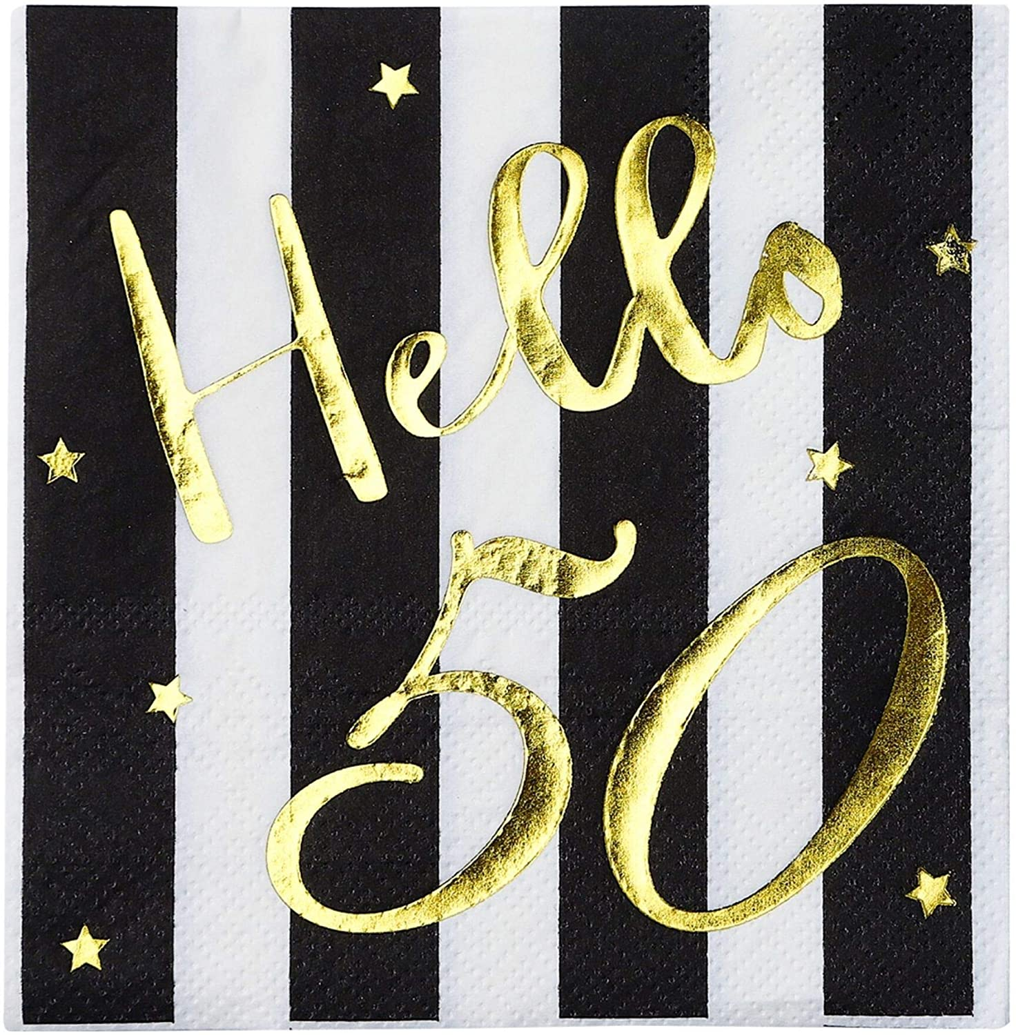 Hello 50 Cocktail Napkins - Happy 50th Birthday Decorations for Men Women | Folded 5x5 Inches Party Napkins | 3-Ply Paper Beverage Napkins, Black and Gold 50th Birthday Napkins, Wedding Anniversary