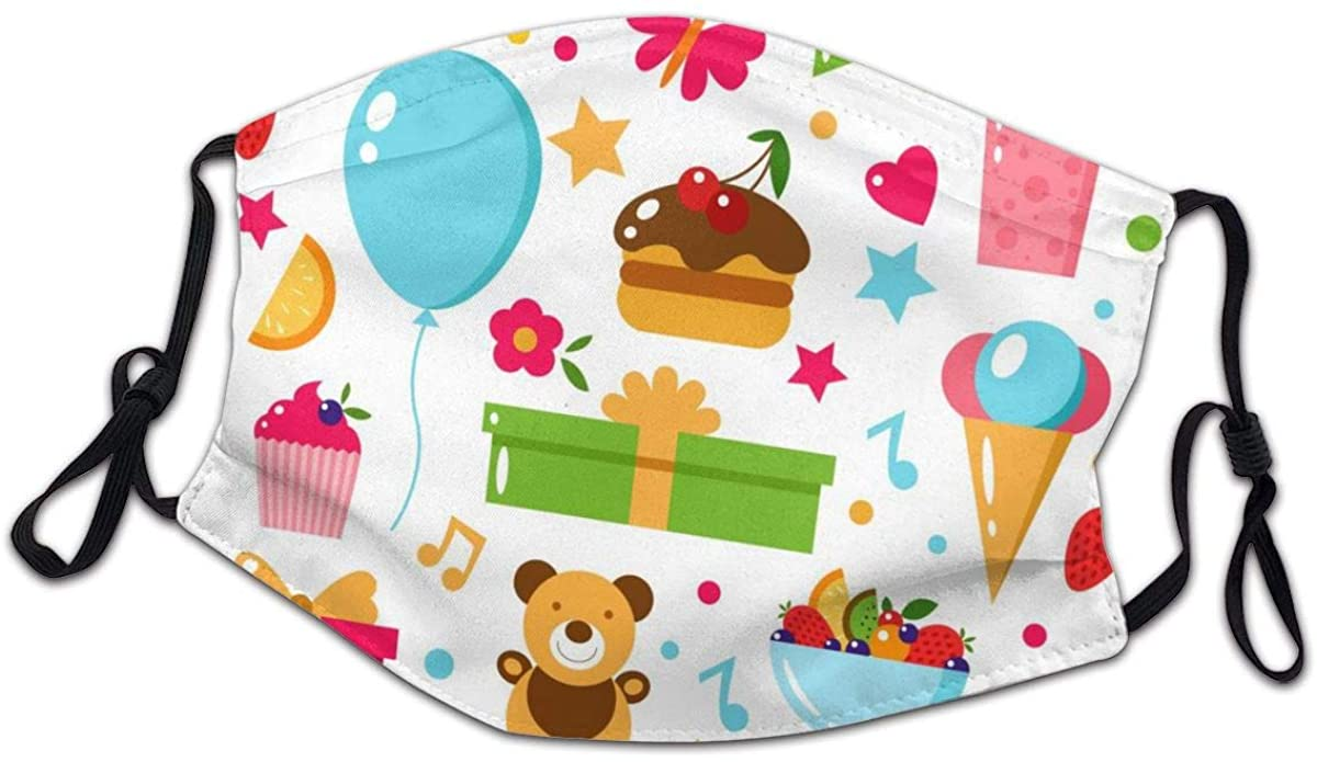 Cake, Gift, Clown, Toy, Sweets, Fruits, Food Face Bandanas for Kids Boys Girls Dust-Proof Facial Protective