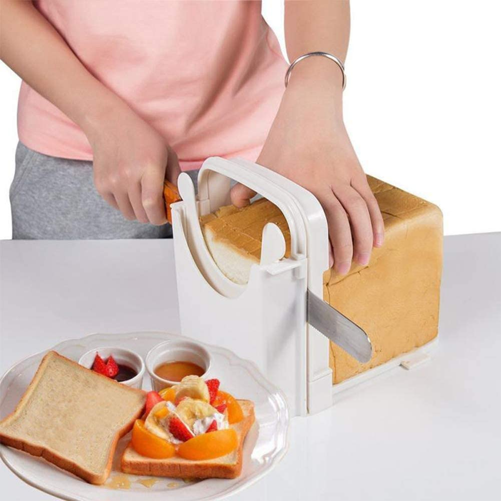Foldable Adjustable Homemade Bread Bagel Toast Slicer Thin Loaf Cutter Hand Slicing Machine Sandwich Maker 4 Slice Size