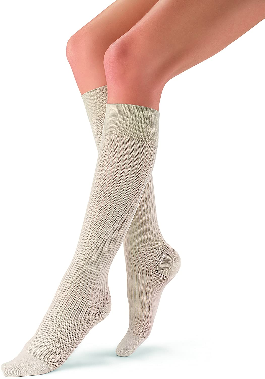JOBST soSoft 15-20 mmHg Knee High Compression Socks, Ribbed Pattern, Sand, Medium