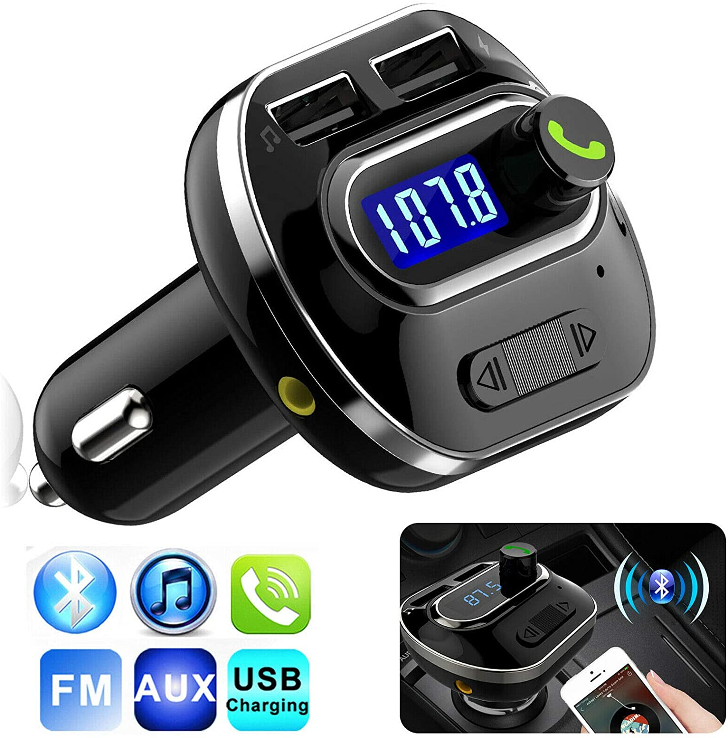 AKDSteel Blue-Tooth Wireless Car AUX Stereo Audio Receiver FM Radio Adapter USB Charger for CE Accessories