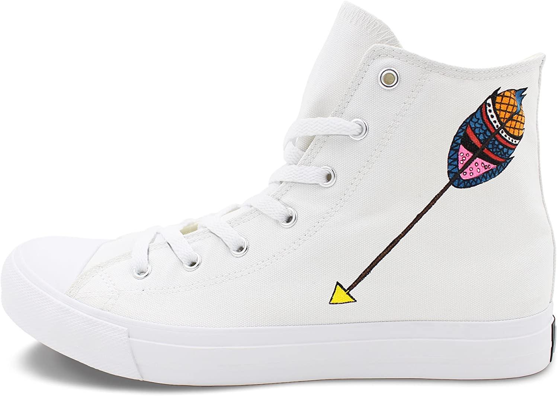 Wen Fire Design Hand Painted High Shoes Tribal Arrow Men Women's Canvas Sneakers