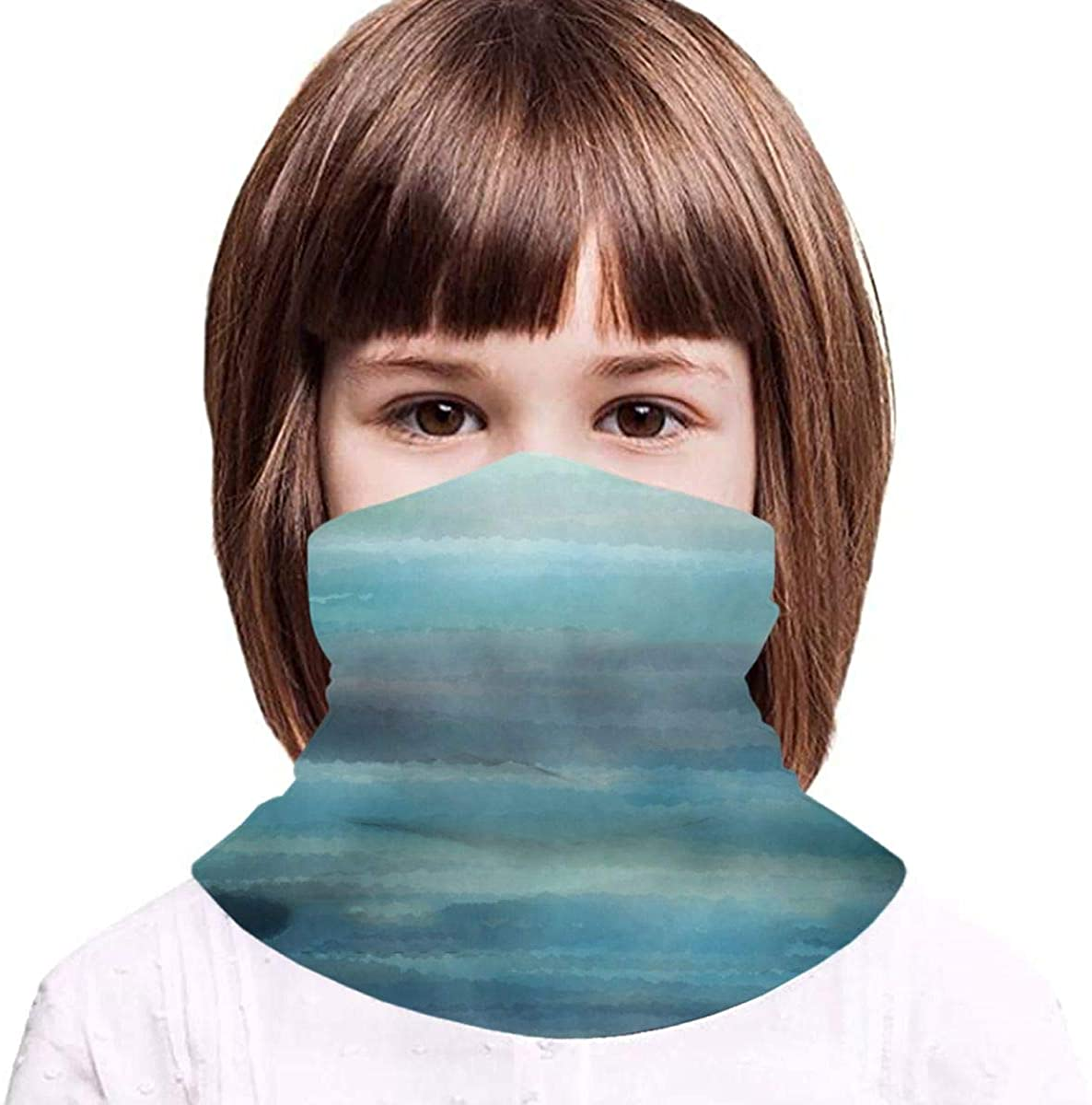 Aqua Teal Blue Sea Ocean Ombre Watercolor 1 Boy Girl Seamless Face Cover Neck Gaiter Headband Teenagers Scarf Outdoors Fishing Sports Running - Gifts for Kids
