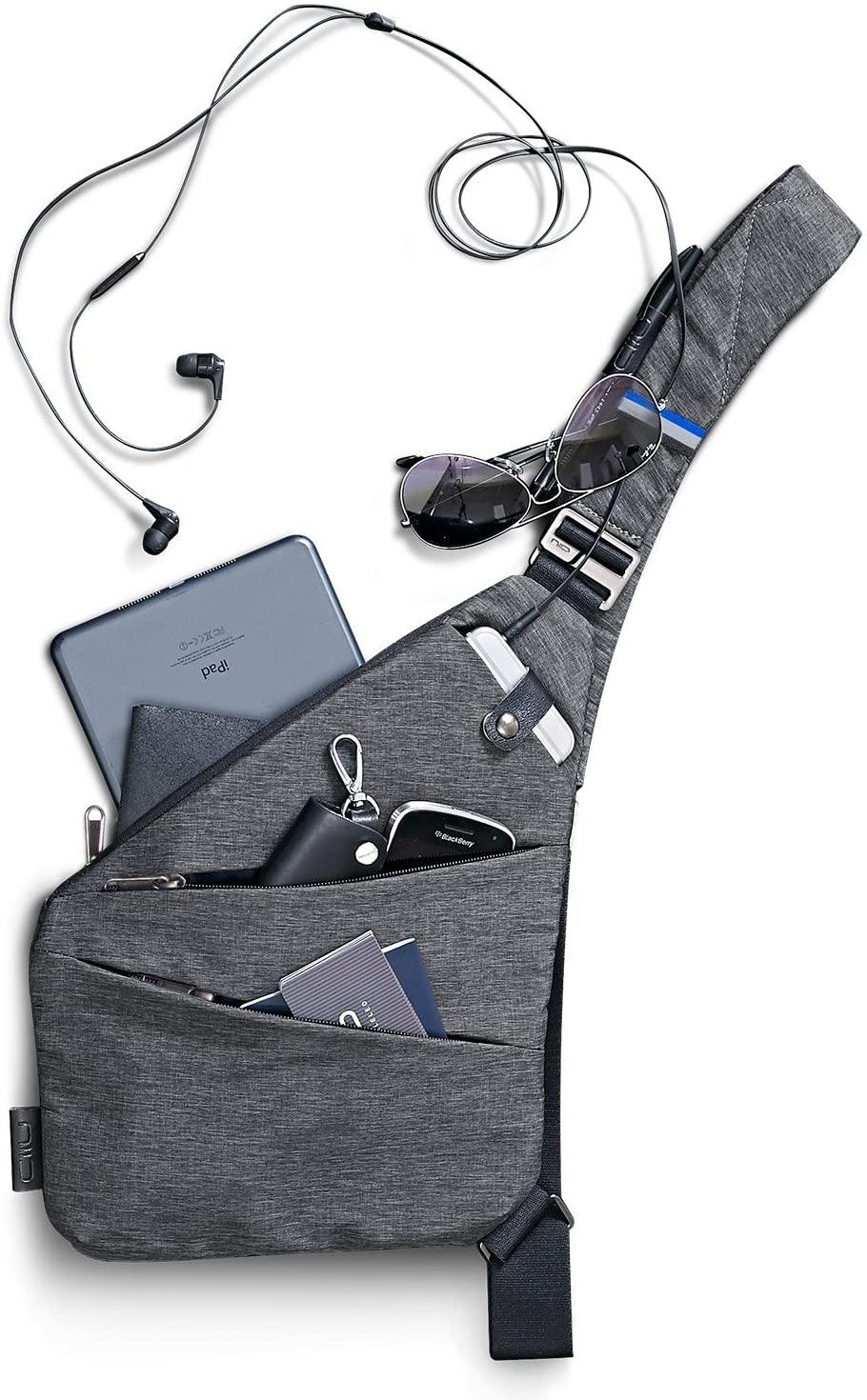 NIID FINO Sling Bag Multipurpose Slim Backpack waterproof and Anti-Theft Travel Chest Bag for Men Women(Left Hand)