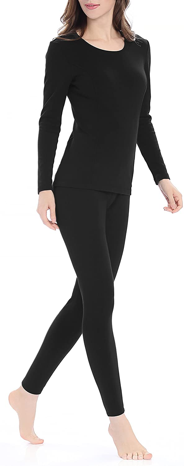 Genuwin Womens Thermal Underwear Set Stretchy Ladies Long Johns Base Layer Womens Underwear S~XL