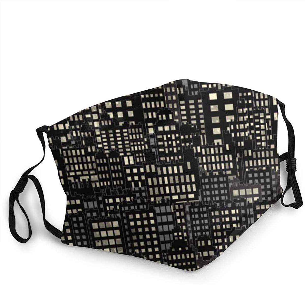 Fashion Protective Face Masks, Building Night Lights Unisex Dust Mouth Masks, Washable, Reusable Masks