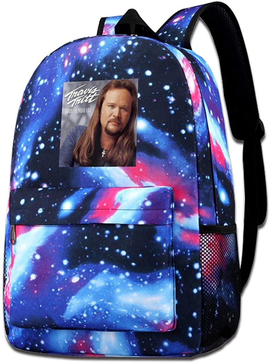 JuaoHuan Travis Tritt Durable Backpack Travel Backpacks Bookbag Men and Women Backpack Blue