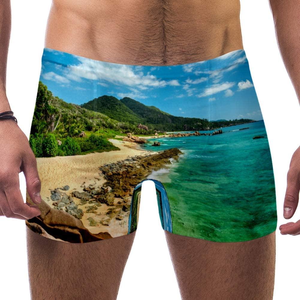 Mens Tropical Turquoise Sea Granite Boulders Swimsuits Swim Trunks Shorts Athletic Swimwear Boxer Briefs Boardshorts