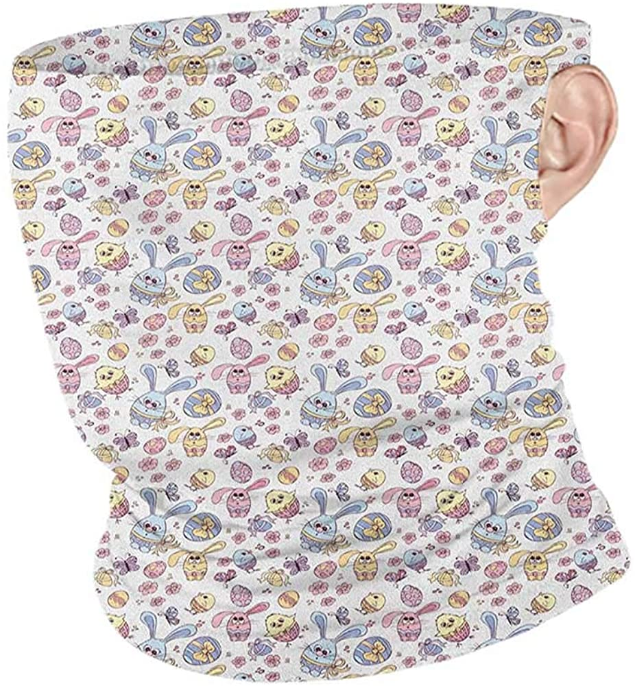 DuDuDoghome Neck Gaiter Cooling Easter Cheerful Kids Pattern with Funny Bunny and Chicken Characters Flowers Butterflies,Breathable face Covers Multicolor 10 x 12 Inch