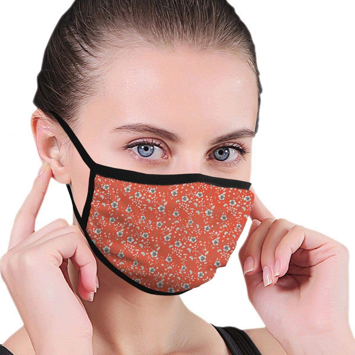Anti Dust Breathable Face Mouth Mask Sunny Pastel Floral Print Washable Face Mask for Cycling Camping Travel
