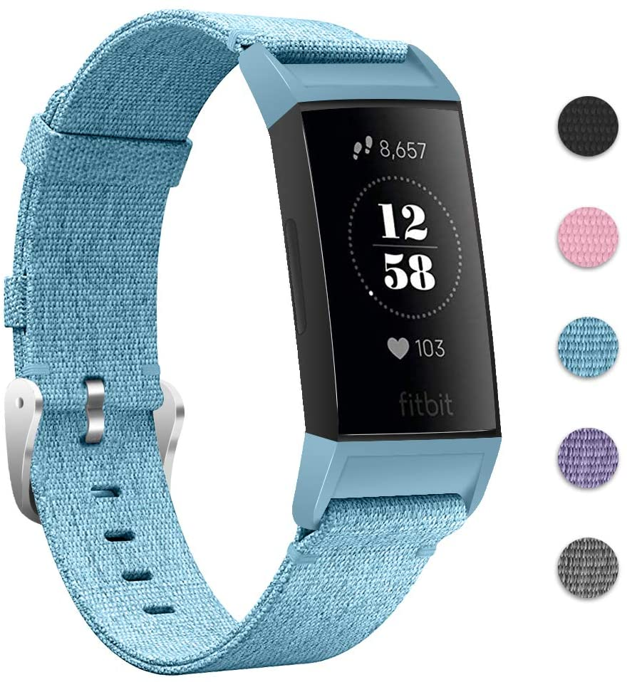 Joyozy Nylon Woven Bands Compatible with Fitbit Charge 3/4 and Charge 3 SE Replacement Accessory Straps Wristbands Bracelet Women and Men 5 Colors Avaiable