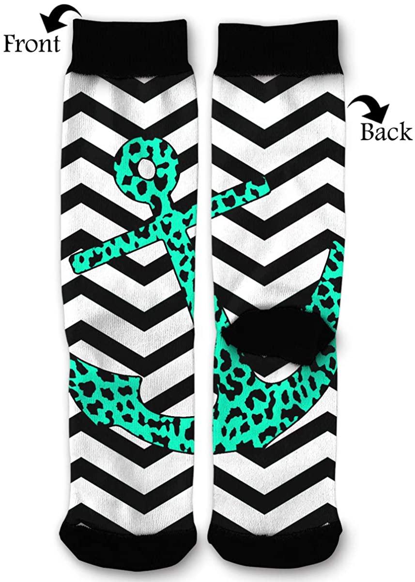 Mint Leopard Chevron Anchor Unisex Casual Sports Socks Knee High Athletic Long Tube Stockings