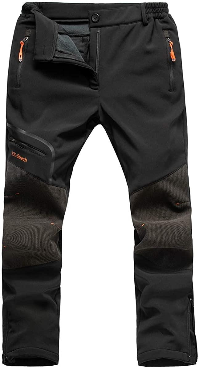 Postropaky Womens Ski Snow Pants Outdoor Waterproof Insulated Fleece Lined Hking Softshell Pants Snowboard Zipper Bottom Leg(Black 28x30)