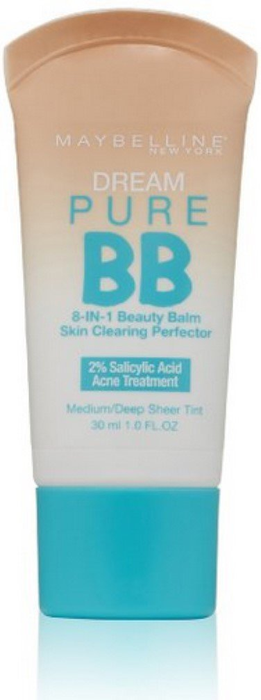 Maybelline New York Dream Pure BB Cream 8-in-1 Skin Clearing Perfector, Medium/Deep 1 oz (Pack of 4)