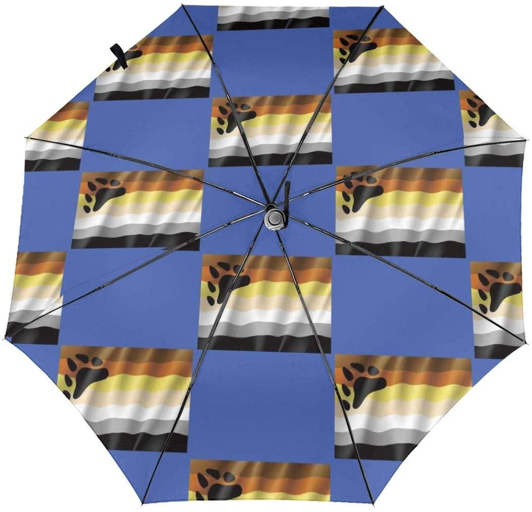 CHAN03 Gay LGBT Bear Flag Automatic Tri-fold Sunscreen Umbrellas Folding Umbrella