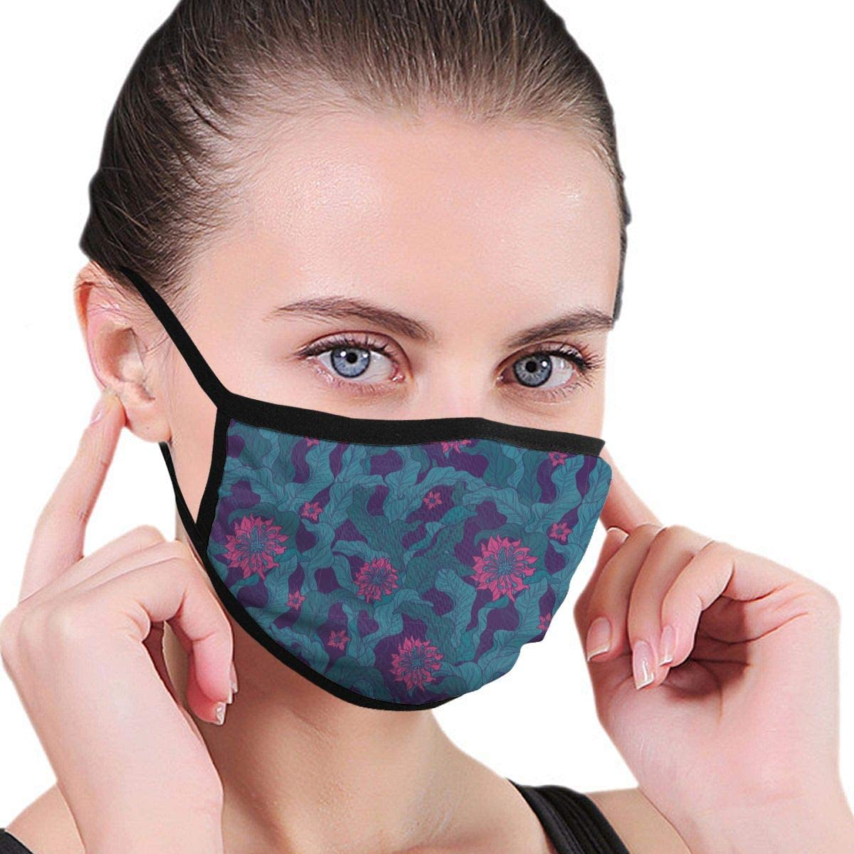 Anti Dust Breathable Face Mouth Mask Floral Motif in Green Magenta Washable Face Mask for Cycling Camping Travel