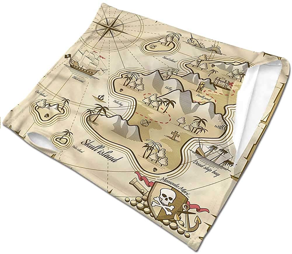 Neck Gaiter Pirate,Map of Treasure Island Sea Headwear Neck Warmer Motorcycle