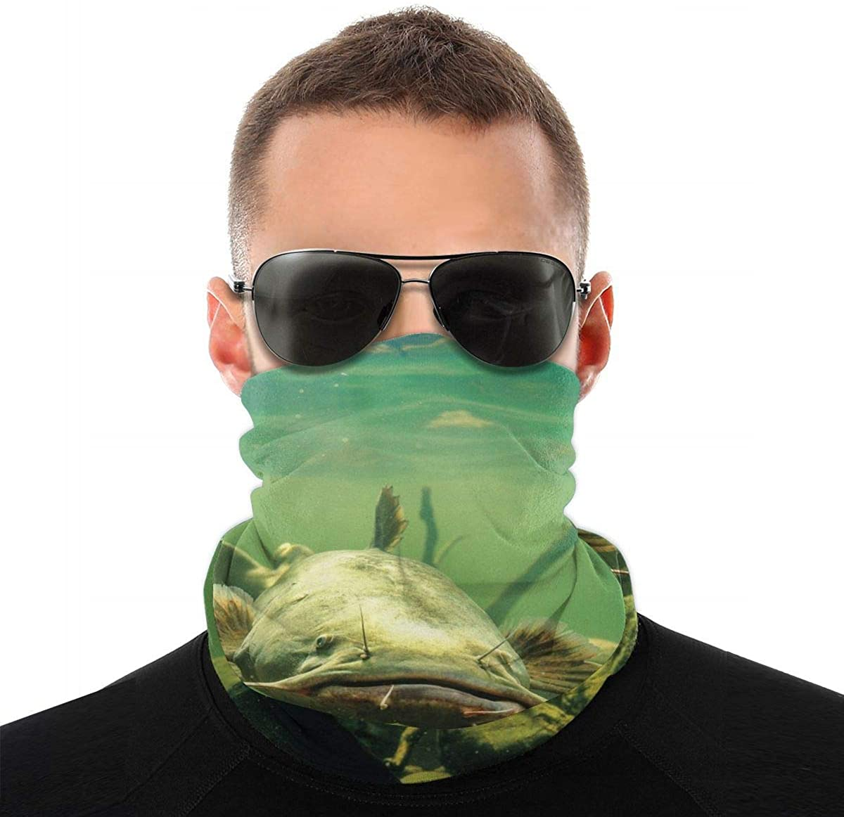 Catfish in Water Seamless Neck Gaiter Magic Face Scarf Bandana Headwear Mouth Cover for Fishing Motorcycling Running White