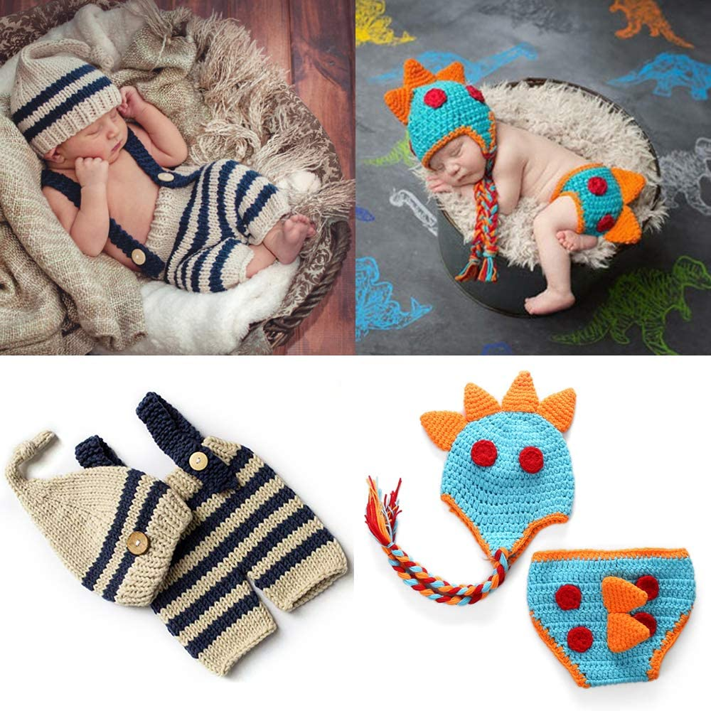ZOCONE Newborn Baby Photography Props Cotton Knitted 2 Sets Crochet Baby Dinosaur Costume, Striped Hat and Pants