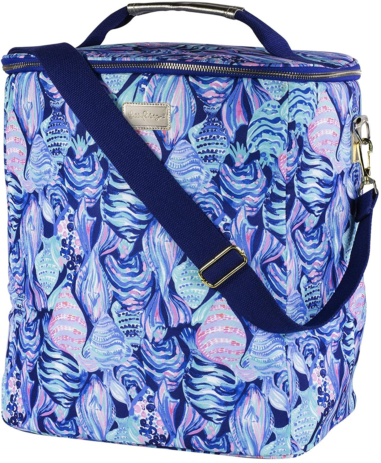 Lilly Pulitzer Insulated Wine Carrier Soft Cooler with Adjustable/Removable Strap and Double Zipper Close, Holds up to 4 Bottles of Wine, Scale Up