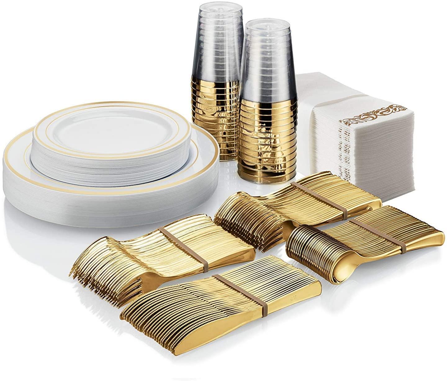 25 Guest Disposable Gold Plastic Dinnerware Set | 50 Forks, 25 Spoons, 25 Dessert Spoons, 25 Knives, 25 Dinner Plates, 25 Dessert Plates & 25 Gold Rimmed Cups | Bonus 50 Guest Towels