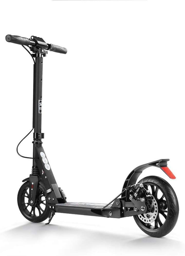 PLLP Adult Kick Scooter Black Folding with Disc Brakes, Adjustable Height Commuter Scooter for Adult Teen, up to 100Kg, Non-Electric