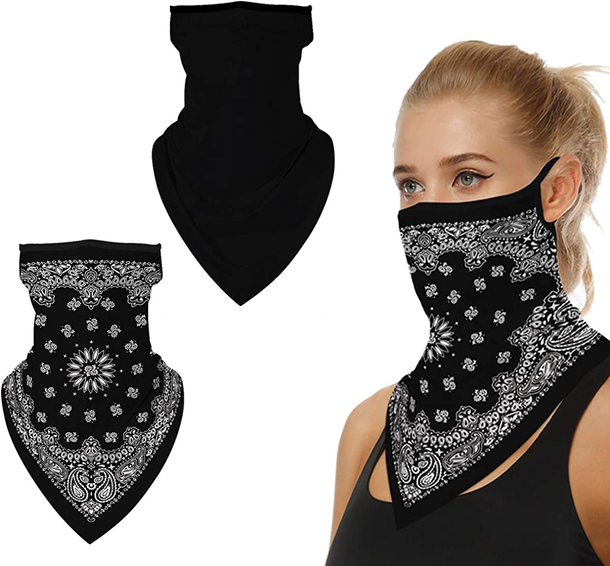 Face Scarf Bandana Mask Ear Loops Face Balaclava Cover Bandana Men Women UV Sun, Wind Protection