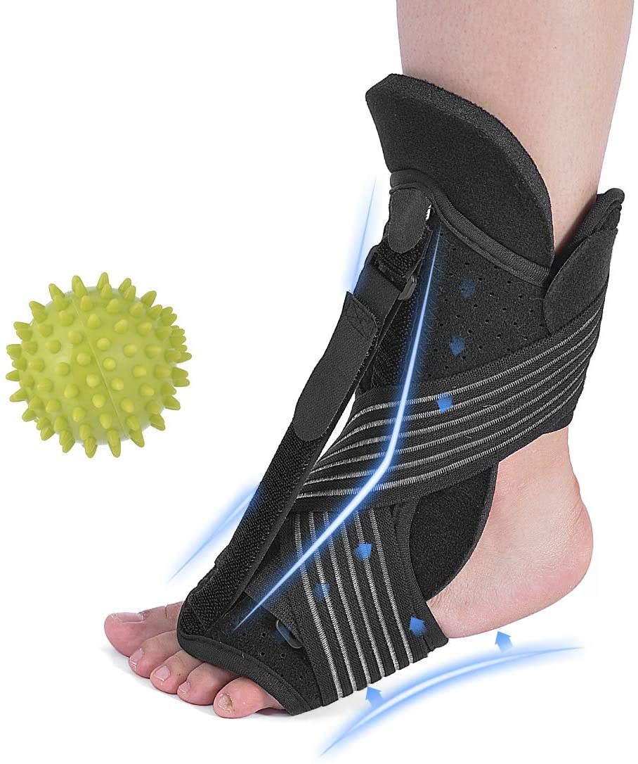 Plantar Fasciitis Brace, Foot Orthopedic Brace for Sleep Support, Adjustable Elastic Dorsal Night Splint Perfect for Relieving Heel, Ankle, Pain, Heel, Arch Foot Pain with Massage Ball SP163
