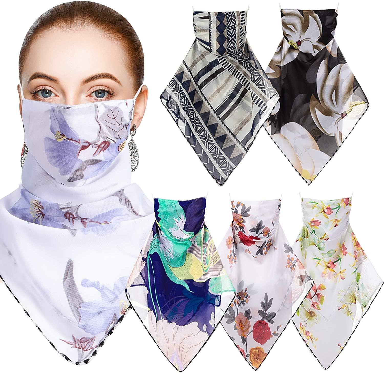 6 Pieces Women Sun Face Cover Colorful Chiffon Neck Gaiter Face Wrap Non-Slip Breathable UV Protection Scarf Bandana