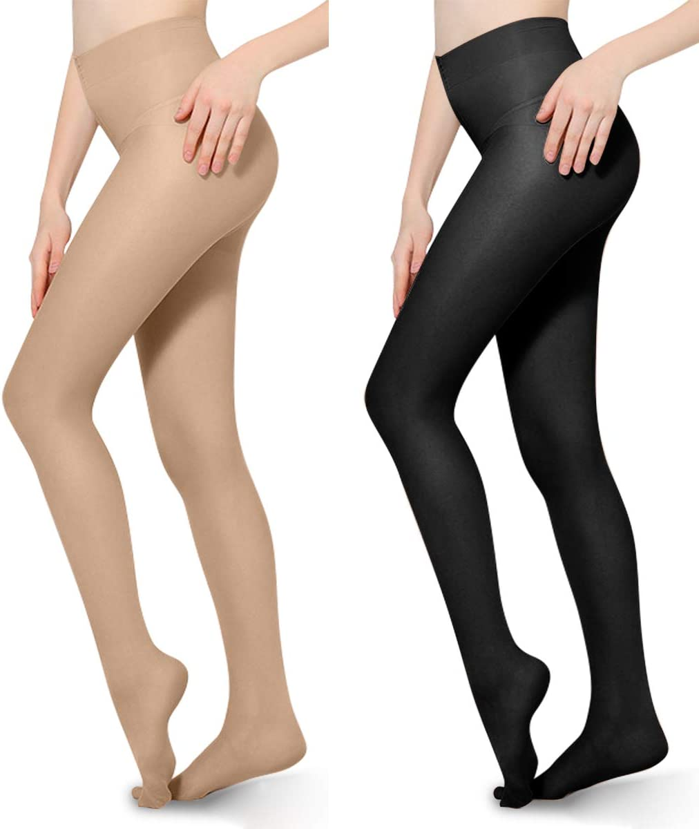 2 PCS 20-30mmHg Compression Pantyhose Opaque Support Pantyhose Closed Toe for Women Men Help Relieve Swelling Varicose Veins Edema Black Beige XL