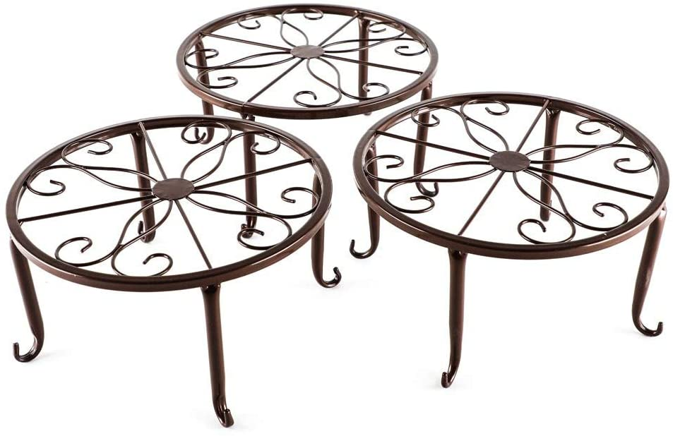 YFjyo Flower Pot Rack Metal Design Bonsai Potted Plant Stand Shelf, 3 Pieces in One Package,Brown