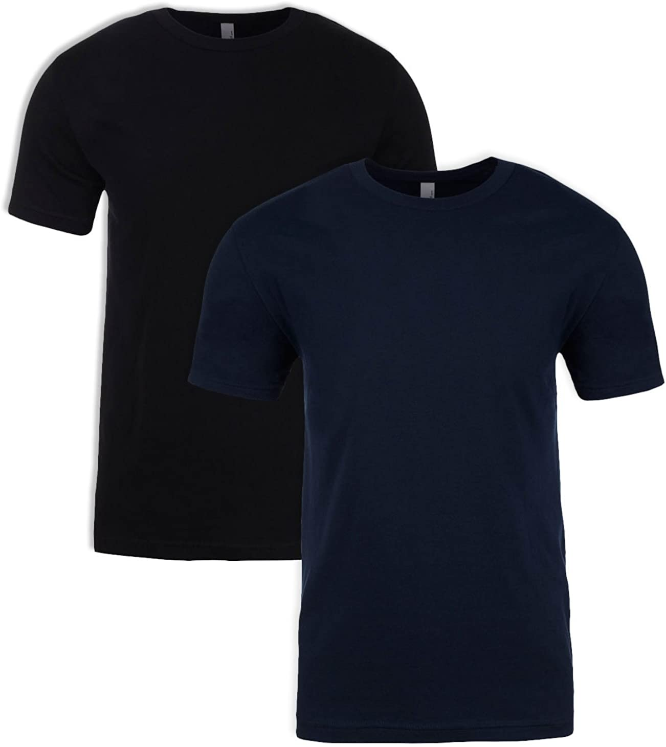 Next Level N6210 T-Shirt, Black + Midnight Navy (2 Pack), X-Small