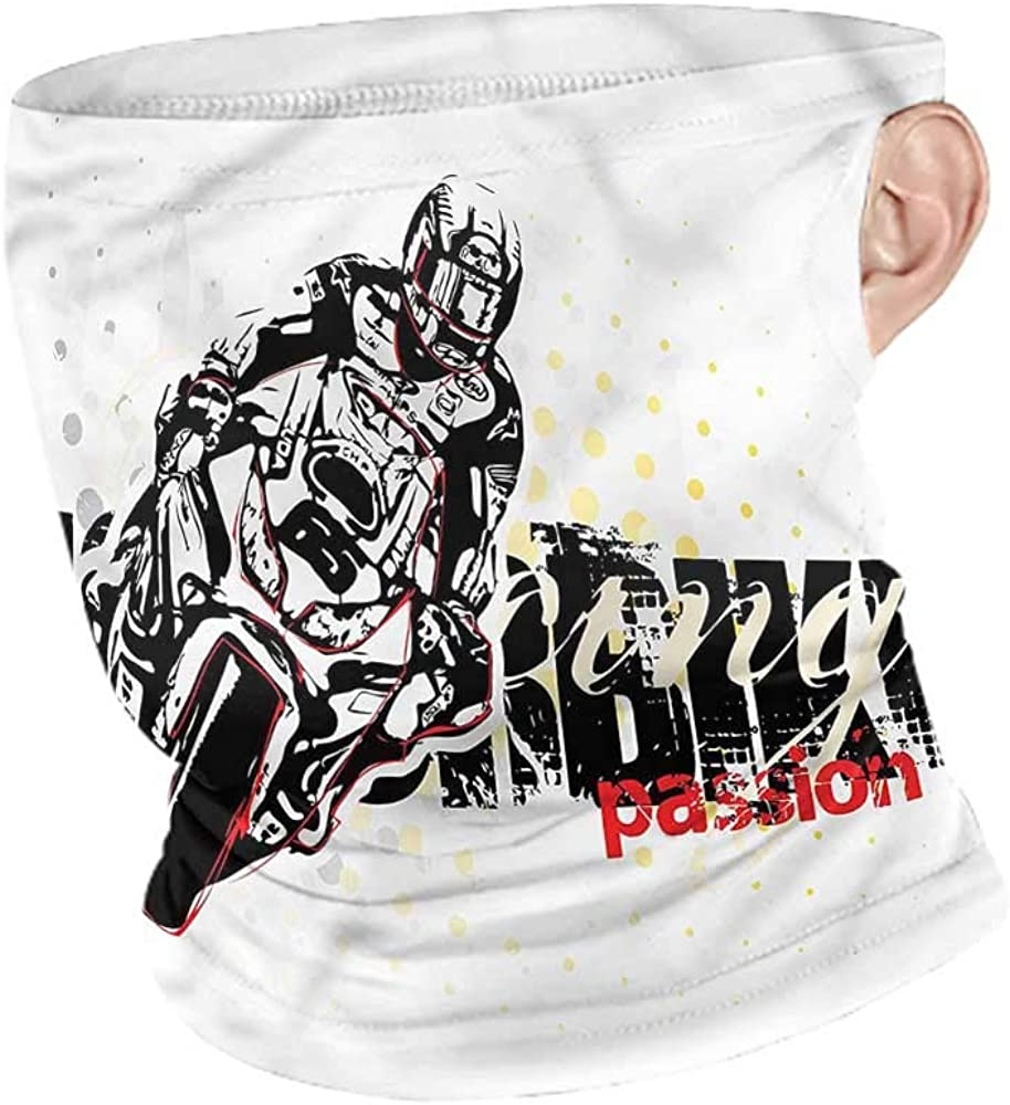 Balaclavas Motorcycle,Grungy Race Passion Fishing Neck Gaiter Sun Protection
