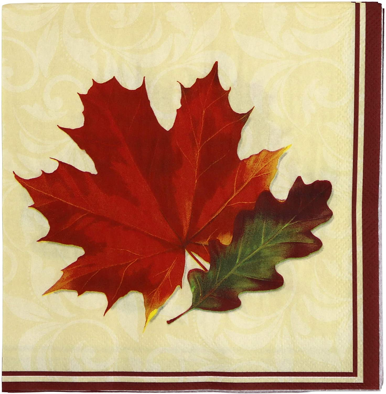 Paper Disposable Party Napkins, Dinner Size, Fall Leaves, 64-Count