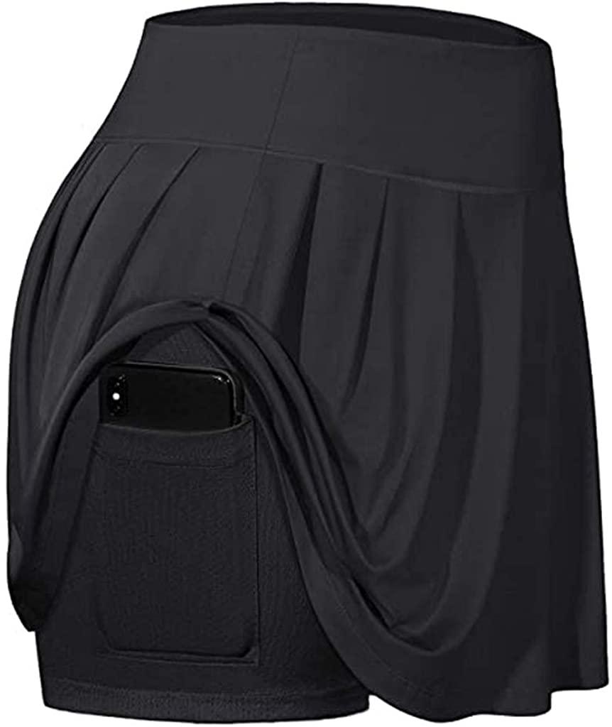 Wenfanal Women's Tennis Skirts Inner Shorts Active Elastic Sports Running Workout Yoga Gym Golf Skorts with Pockets
