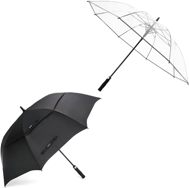 G4Free 54 inch Golf Umbrella and 62 inch Clear Stick Umbrella