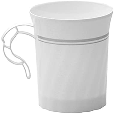 WNA Masterpiece 12 Count Plastic Coffee Cups, White/Silver