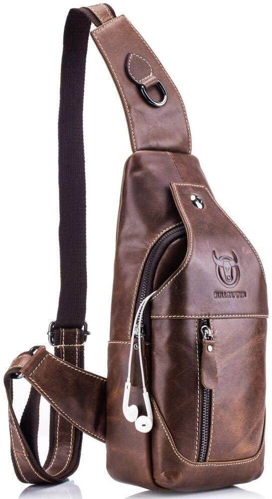 Joewilling Genuine Leather Chest Shoulder Backpack Men's Sling Outdoor Bag Cross Body Water Resistant Anti Theft Bag (Brown)
