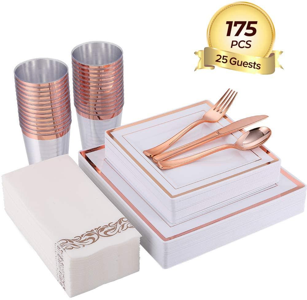 175 Piece Rose Gold Dinnerware Set 25 Guest-50 Square Plastic Plates-25 Rose Gold Plastic Silverware-25 Plastic Cups-25 Linen Like Rose Gold Paper Napkins, FOCUS LINE Disposable Dinnerware Set