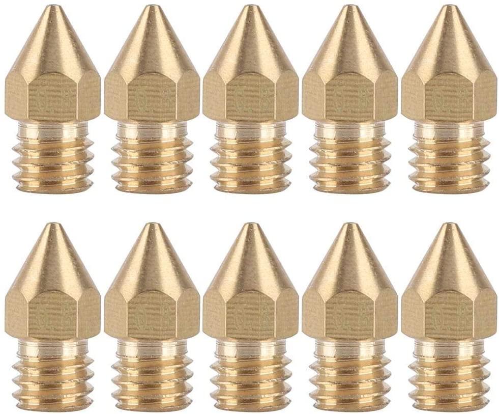 Redxiao 3D Printer Extruder Brass Nozzle,10 Pcs 0.8mm Extruder Nozzle Brass Extruder Nozzle 1.75mm for Mk8 3D Printer Accessory