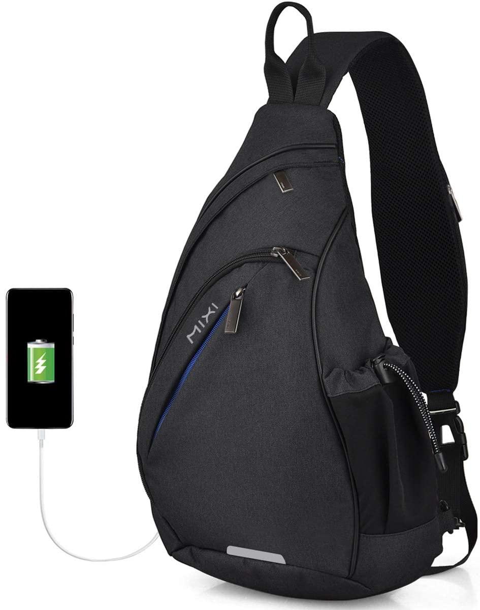 Hanke Sling Bag with USB Port Water Resistant Mens Sling Backpack Multipurpose Crossbody Shoulder Bag Chest Bag-19 inch,Black