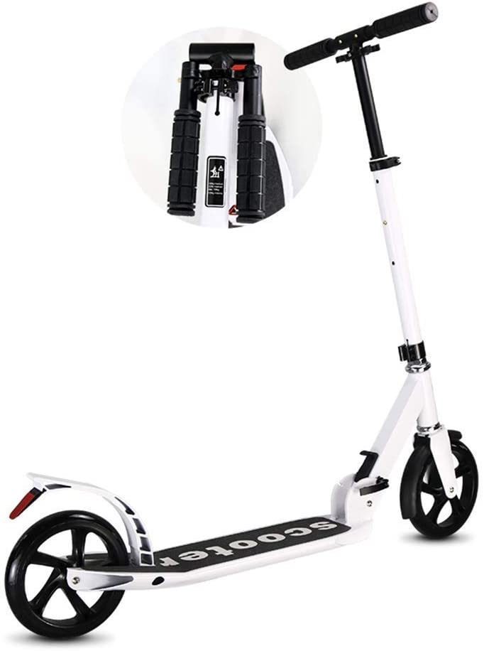 Adjustable Height Adult Kick Scooter with Foldable Handle, Portable City Big Wheels Commuter Scooters, Birthday Gifts for Kids 8 Years and up Boys Girls, Support 100kg, Non-Electric A Kick Scooter