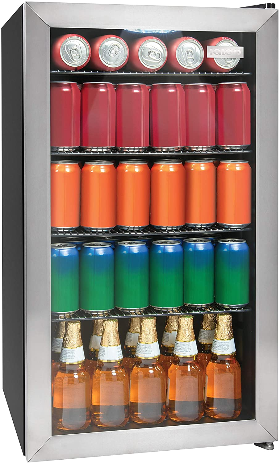 Igloo IBC35SS 135-Can Capacity Beverage Refrigerator & Cooler For Soda, Beer, Wine and Water LED-Lighted Double-Pane Glass Door, 3.5 Cu. Ft, Stainless Steel